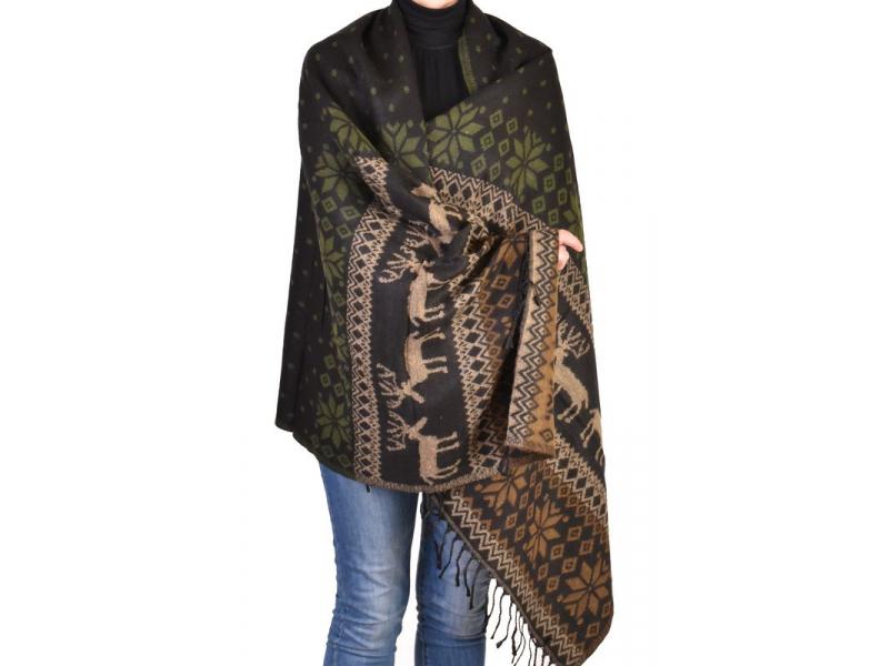 Velký zimní šál se vzorem jelenů, černo-khaki, 205x95cm