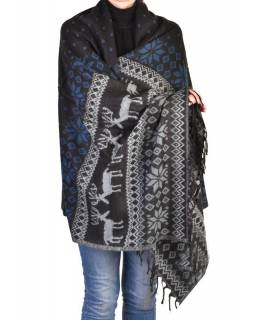 Velký zimní šál se vzorem jelenů, černo-modrá, 205x95cm