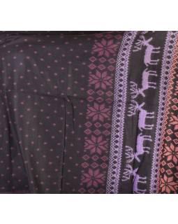 Velký zimní šál se vzorem jelenů, černo-fialová, 205x95cm