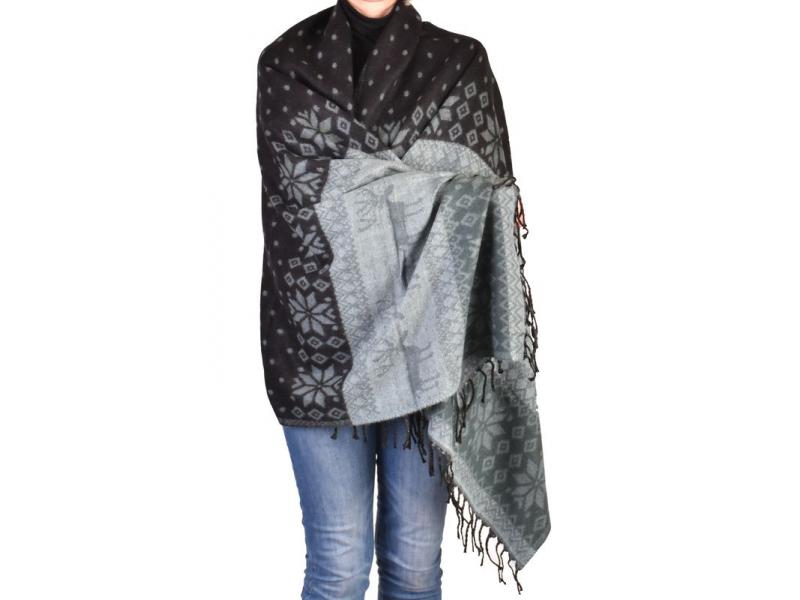 Velký zimní šál se vzorem jelenů, černo-šedá, 205x95cm