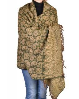 Velký zimní šál se vzorem paisley, khaki, 205x95cm