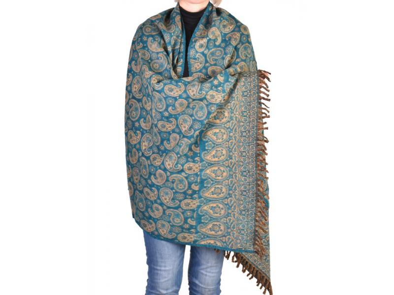 Velký zimní šál se vzorem paisley, tyrkys, 205x95cm