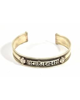 Stříbrný náramek s designem mantry, nastavitelná velikost, AG 925/1000, Nepál