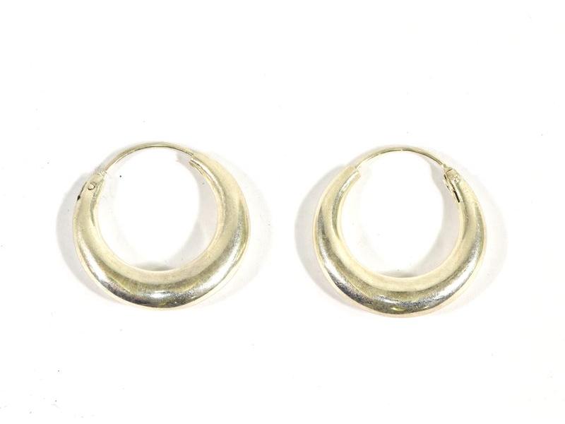 Visací stříbrné kruhové náušnice, průměr cca 2,5cm, AG 925/1000, Nepál