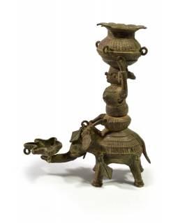 Mosazná olejová lampa, žena na slonu, tribal art, 13x16cm