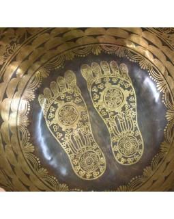 """Tibetská mísa, """"Jam"""", gravírovaný ornament Buddhovy nohy, průměr 32cm"""