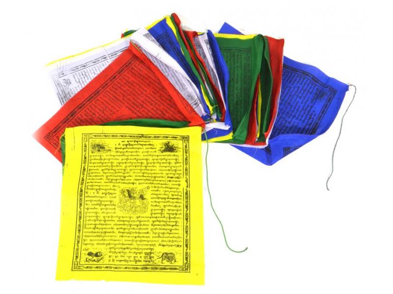 Modlitební praporky, 25x prap., černý tisk, polyester, 35x42cm
