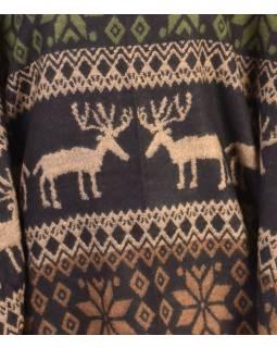 Pončo s límcem a třásněmi, vzor jeleni, černo-zelená, univerzální velikost