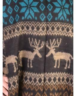 Pončo s límcem a třásněmi, vzor jeleni, černo-tyrkys, univerzální velikost