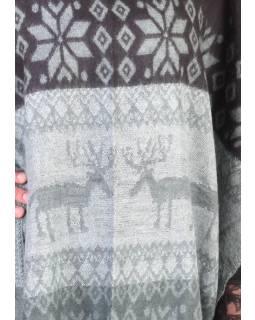 Pončo s límcem a třásněmi, vzor jeleni, černo-šedá, univerzální velikost