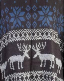 Pončo s límcem a třásněmi, vzor jeleni, černo-modrá, univerzální velikost
