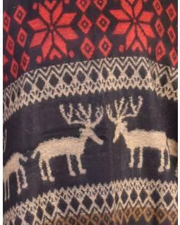 Pončo s límcem a třásněmi, vzor jeleni, černo-červená, univerzální velikost