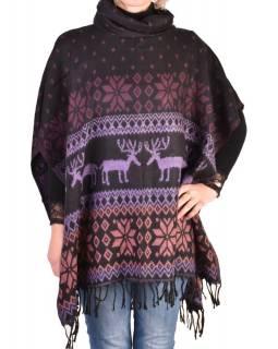 Pončo s límcem a třásněmi, vzor jeleni, černo-fialová, univerzální velikost