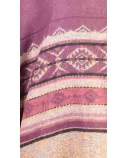 Pončo s límcem a třásněmi, vzor, fialová, univerzální velikost