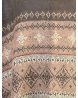 Pončo s límcem a třásněmi, vzor, šedo-hnědá, univerzální velikost