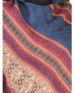 Pončo s kapucí a třásněmi, vzor, modrá, univerzální velikost
