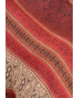 Pončo s kapucí a třásněmi, vzor, červená, univerzální velikost