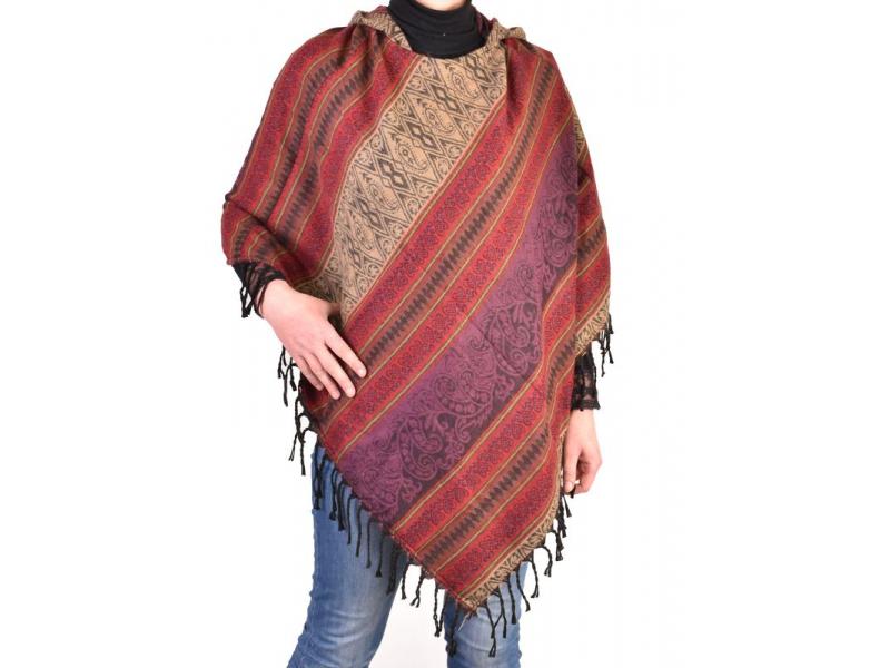 Pončo s kapucí a třásněmi, vzor, fialová, univerzální velikost