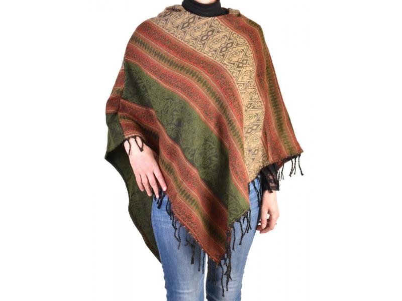 Pončo s kapucí a třásněmi, vzor, khaki, univerzální velikost