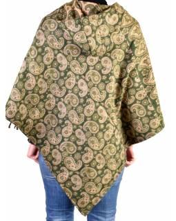 Pončo s kapucí a třásněmi, vzor paisley, khaki, univerzální velikost