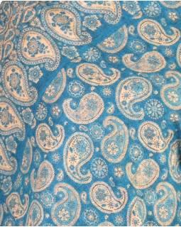 Pončo s kapucí a třásněmi, vzor paisley, tyrkys, univerzální velikost