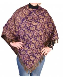 Pončo s kapucí a třásněmi, vzor paisley, fialová, univerzální velikost