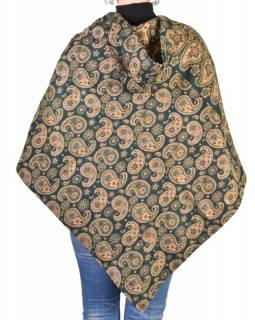 Pončo s kapucí a třásněmi, vzor paisley, lahvově zelená, univerzální velikost
