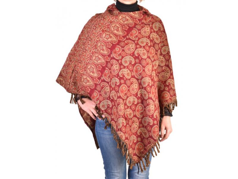 Pončo s kapucí a třásněmi, vzor paisley, vínová, univerzální velikost