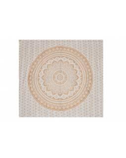 Přehoz na postel, Mandala, zlatý tisk, 224x206cm
