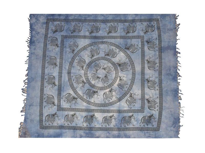 Přehoz na postel, Sloni, modrý, třásně, 240x210cm