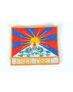 Nášivka, Tibetská vlajka, čtvercová, malá, cca 10 x 8 cm