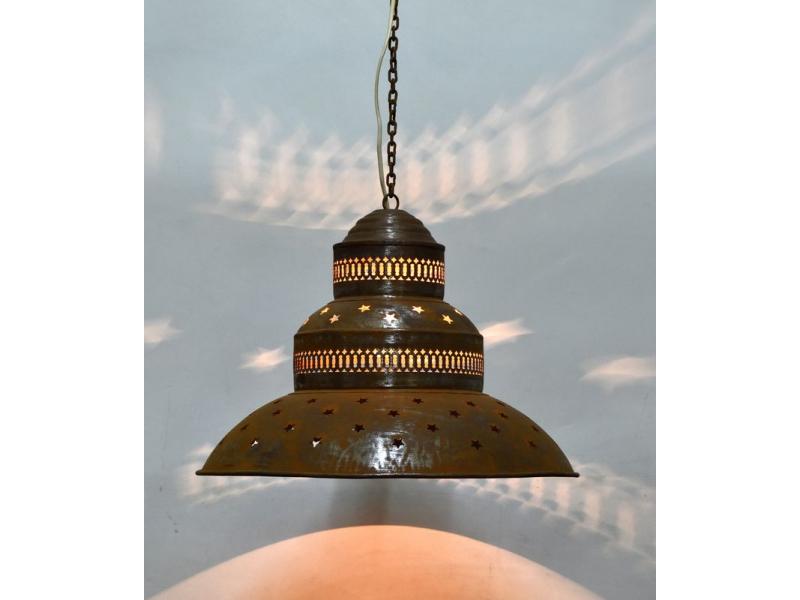 Kovová lampa v orientálním stylu, rez,, 45x45x40cm