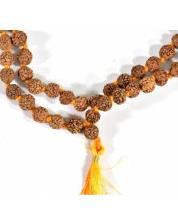 Mala Rudraksha, 108 korálků, průměr 8 mm, délka 50cm