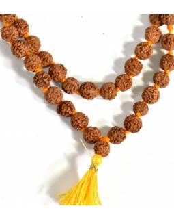 Mala Rudraksha, 108 korálků, průměr 7 mm, délka 40cm