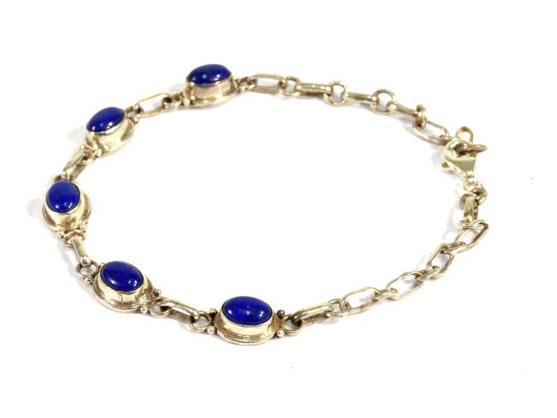 Stříbrný náramek vykládaný lapisem lazuli, karabinka, délka cca 20cm, AG 925/100