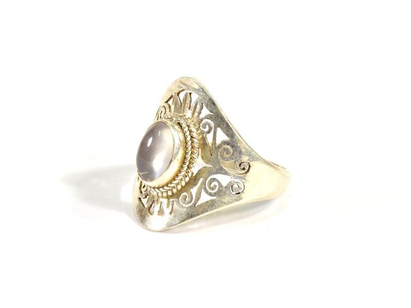 Velký stříbrný prsten vykládaný měsíčním kamenem, AG 925/1000, Nepál