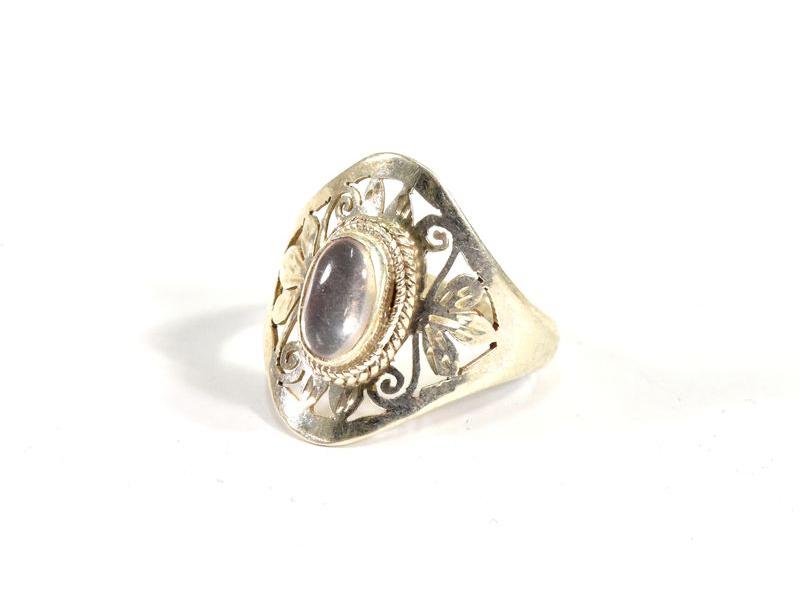 Velký stříbrný prsten vykládaný měsíčním kamenem, AG925, Nepál
