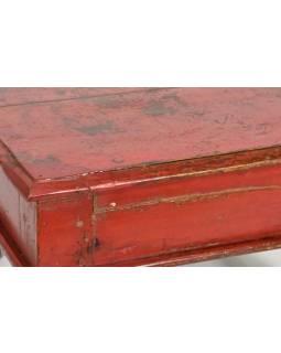 Čajový stolek z anik teakového dřeva, čevený, 40x40x25cm