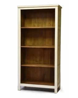 Knihovna z mangového dřeva, bílá patina, ruční řezby, 95x42x192cm