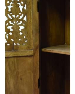 Skříň z mangového dřeva, tyrkysovo zlatá patina, ruční řezby, 77x46x153cm
