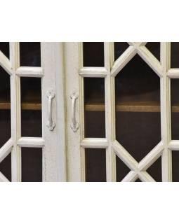 Komoda z antik teakového dřeva, s prosklenými dvířky, 99x43x85cm