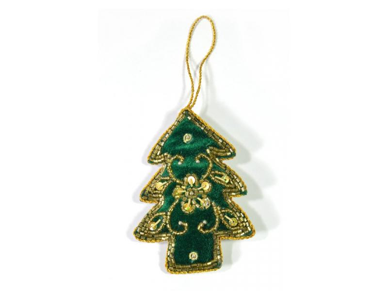Vánoční ozdoba, stromeček, zelený samet, bohatě zlatě zdobená, cca 10x7cm