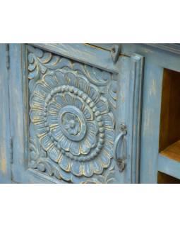 Komoda z mangového dřeva, ruční řezby, tyrkysová patina, 155x44x63cm