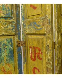 Staré kupecké dveře, použitelné jako paravan, 120x4x217cm