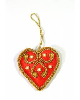 Vánoční ozdoba, srdce, červený samet, bohatě zlatě zdobená, cca 7x7cm