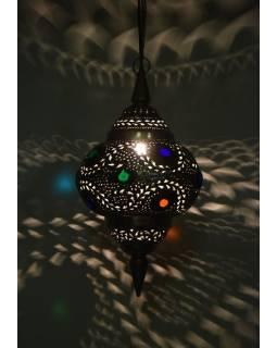 Mosazná lampa v orientálním stylu s barevnými sklíčky, 26x26x50cm