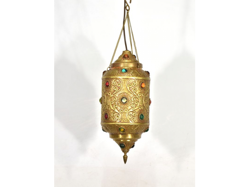 Mosazná lampa v orientálním stylu s barevnými sklíčky, 19x19x42cm