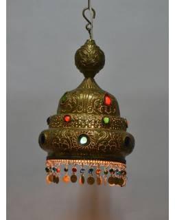 Mosazná lampa v orientálním stylu s barevnými sklíčky, 26x26x36cm