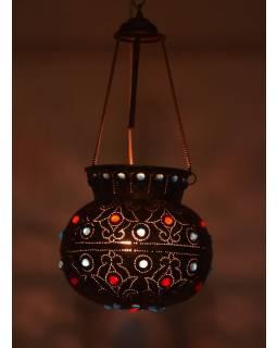 Mosazná lampa v orientálním stylu s barevnými sklíčky, 28x28x25cm