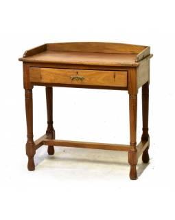 Starý psací stůl z teakového dřeva, 75x44x80cm